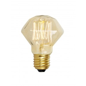 18728 SQUIRREL CAGE DIAMOND SHAPE ES/ E27 40W DECORATIVE BULB - AMBER GLASS