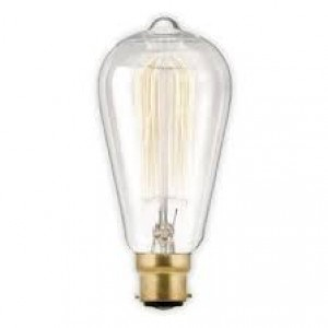 18504   SQUIRREL CAGE VINTAGE PEAR SHAPE BC BULB - 60W