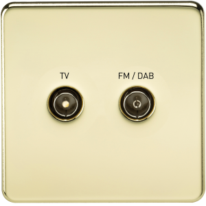 SF0160 SCREWLESS SCREENED DIPLEX OUTLET (TV & FM DAB)