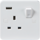 PURE 13A 1G DP SWITCHED SOCKET WITH USB CHARGER 5V DC 1A  -9MM