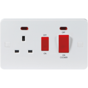 PURE 2G 45A DP COOKER SWITCH AND 13A SWITCHED SOCKET WITH NEONS - 9MM