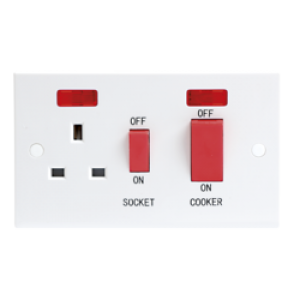 45A DP COOKER SWITCH & 13A SWITCHED SOCKET W/NEON