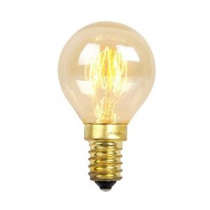 19014  25W SQUIRREL CAGE GOLFBALL BULB WITH SES CAP PRODUCT CODE: 19014
