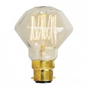18727  SQUIRREL CAGE DIAMOND SHAPE BC/ B22 40W DECORATIVE BULB - CLEAR GLASS